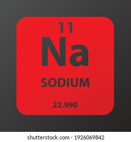 Na Sodium Alkali metal Chemical Element vector illustration diagram, with atomic number and mass. Simple gradient flat design for education, lab, science class.