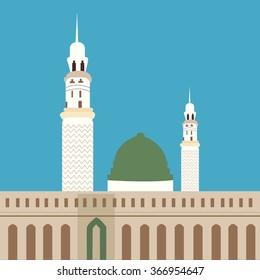 nabawi mosque madina islam worship place dome minaret