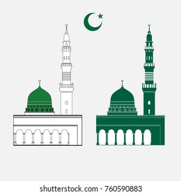 Nabawi mosque at Madinah, Saudi arabia.vector symbol drawn