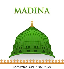 Nabawi Mosque vector - The Iconic Green Dome of the Prophet's Mosque. Madinah, Saudi Arabia