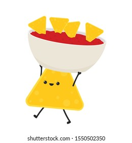 Nacho character design. Nacho vector. Nachos on white background. sauce cup vector.