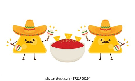 Nacho in Mexican hat. Nacho dip in bowl. Nacho character design. Tomato dip. Sauce cup vector.