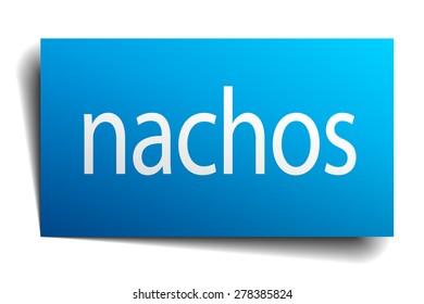 nachos blue paper sign on white background