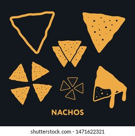 Nachos Chips Snack. Mexican Cheese Fast Food. Flat Vector Icon Set.