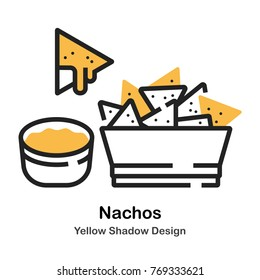 Nachos and dip lineal vector illustration