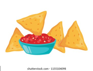 Nachos is dipped in a red sauce. On a white background. Vector illustration.