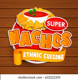 Nachos ethnic cuisine logo and food label or sticker. Concept of mexican food, traditional product design for shops, markets.Vector illustration.