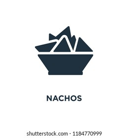 Nachos icon. Black filled vector illustration. Nachos symbol on white background. Can be used in web and mobile.