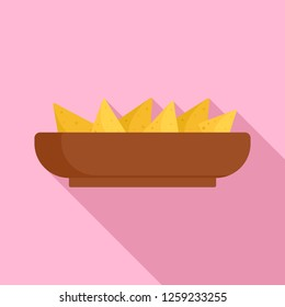 Nachos plate icon. Flat illustration of nachos plate vector icon for web design