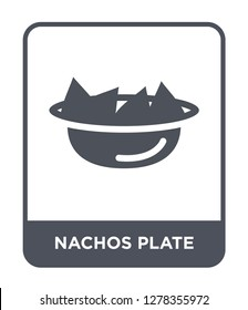 nachos plate icon vector on white background, nachos plate trendy filled icons from Bistro and restaurant collection, nachos plate vector illustration