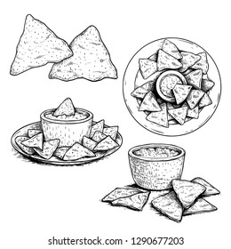 Nachos sketch style set. Single, group on plate and with sauce nachos. Top view. Traditional mexican food collection. Hand drawn. Vector illustration for menu designs. Isolated on white background.