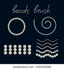 Nacre beads embellishment vector artsy brush. Pearl yarn for fashion illustration, scrapbook elements, wedding invitations, textile fabric print, digital design accessories, retro rhinestone border.