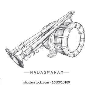 Nadaswaram carnatic music instruments vector illustration