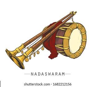 nadaswaram colourful vector illustration in white background