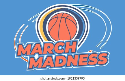 Nadym -Russia 01.23.21:March Basketball Madness. Men's Basketball Tournament. Played each spring in the United States. Sport poster. Vector illustration EPS 10.