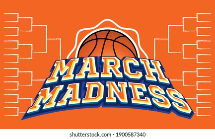 Nadym -Russia 01.23.21:The NCAA Division 1 Men's Basketball Tournament, also known as the March Madness, is a competition held in the United States every spring.Sport poster. Vector illustration