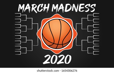 Nadym, Russia- February 23: March Basketball Madness. Men's Basketball Tournament. Played each spring in the United States. Social media Sport poster. Vector illustration EPS 10.
