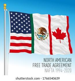 NAFTA, North American Free Trade Agreement historical flag and symbol, vector illustration
