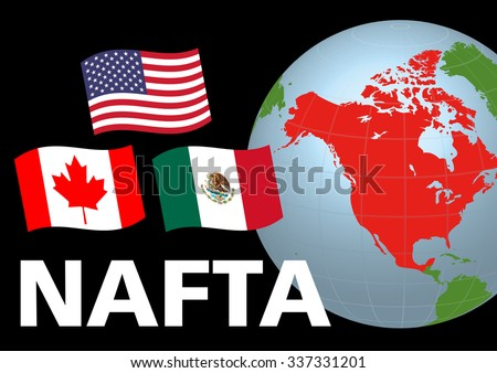 Nafta North American Free Trade Agreement Stock Vector Royalty Free