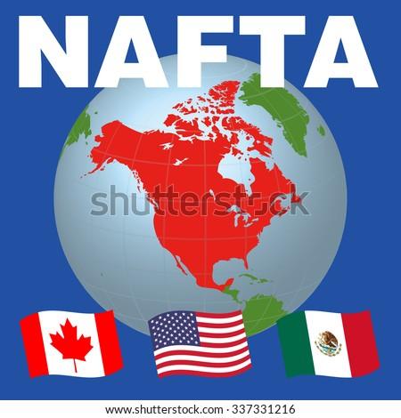 Nafta North American Free Trade Agreement Stock Vector Royalty Free