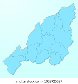 Nagaland blue map on degraded background vector