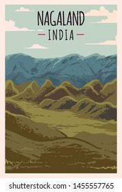 Nagaland retro poster. Nagaland travel illustration. States of India greeting card.