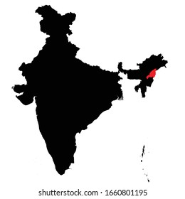 Nagaland state highlighted on India map Vector EPS 10