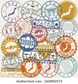 Nagasaki Japan Set of Stamps. Travel Stamp. Made In Product. Design Seals Old Style Insignia.