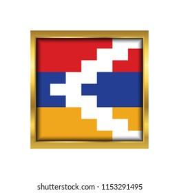 Nagorno Karabakh Flag Vector Square Icon - Illustration, Flag of Nagorno Karabakh. Abstract concept, icon,golden square, button. Raster illustration on white background.