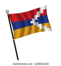 Nagorno Karabakh flag , flag of Nagorno Karabakh waving on flag pole, vector illustration EPS 10.