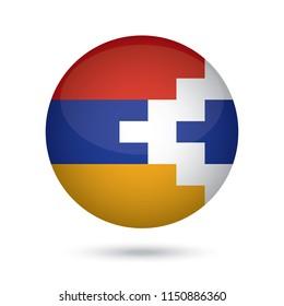 Nagorno Karabakh glossy round button. Vector Illustration EPS10.
