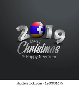 Nagorno Karabakh Republic Flag 2019 Merry Christmas Typography. New Year Abstract Celebration background