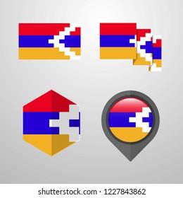 Nagorno Karabakh Republic flag design set vector