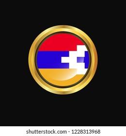 Nagorno Karabakh Republic flag Golden button
