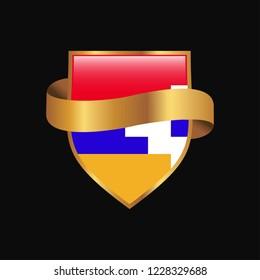 Nagorno Karabakh Republic flag Golden badge design vector