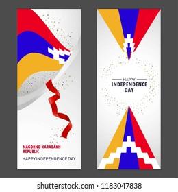 Nagorno Karabakh Republic Happy independence day Confetti Celebration Background Vertical Banner set