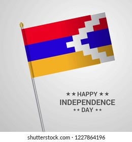 Nagorno Karabakh Republic Independence day typographic design with flag vector