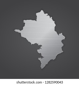 Nagorno Karabakh Republic map with chrome, metal shiny silver gradient. Vector illustration - Vector