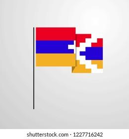 Nagorno Karabakh Republic waving Flag design vector