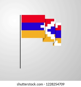 Nagorno Karabakh Republic waving Flag creative background