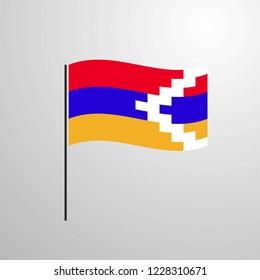 Nagorno Karabakh Republic waving Flag