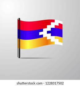 Nagorno Karabakh Republic waving Shiny Flag design vector