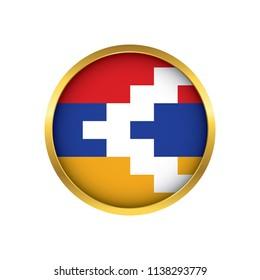 Nagorno-Karabakh flag button, Golden on a white background,flag of Nagorno-Karabakh Round badge or icon isolated. Vector illustration.