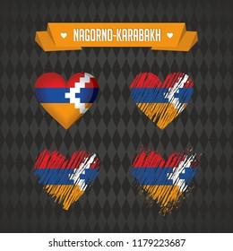 Nagorno-Karabakh heart with flag inside. Grunge vector graphic symbols