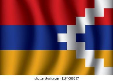Nagorno-Karabakh Republic flag background with cloth texture. Nagorno-Karabakh Republic Flag vector illustration eps10.