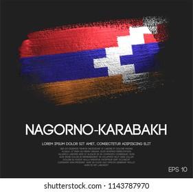 Nagorno-Karabakh Republic Flag Made of Glitter Sparkle Brush Paint Vector