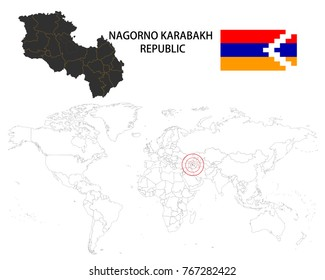 Nagorno-Karabakh Republic map on a world map with flag on white background.