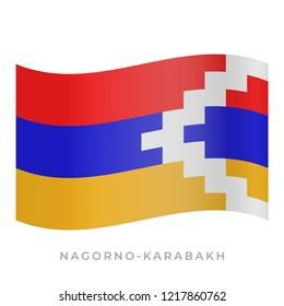 Nagorno-Karabakh waving flag vector icon. National symbol of Nagorno-Karabakh. Vector illustration isolated on white.