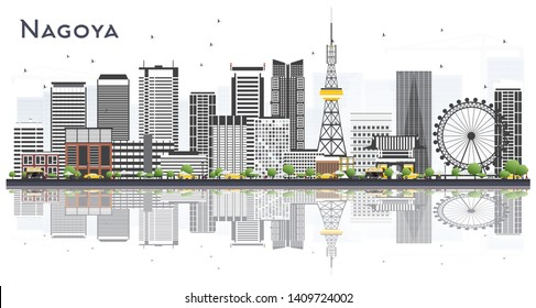 Nagoya Japan City Skyline with Gray Buildings and Reflections Isolated on White. Vector Illustration. Business and Tourism Concept with Modern Buildings. Nagoya Cityscape with Landmarks.