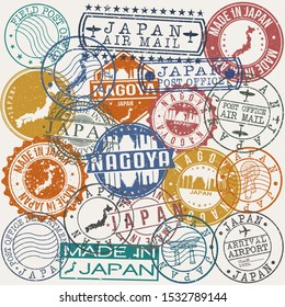 Nagoya Japan Set of Stamps. Travel Stamp. Made In Product. Design Seals Old Style Insignia.